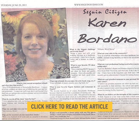 Karen Bordano, Citizen of the Week